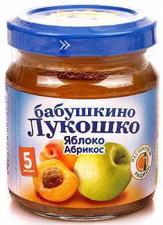 Бабушкино лукошко пюре яблоко/абрикос 4+ 100г