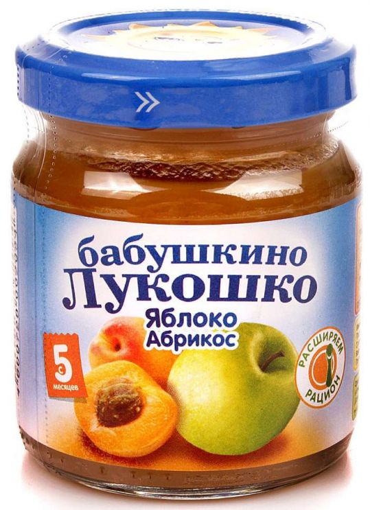 Бабушкино лукошко пюре яблоко/абрикос 4+ 100г, фото №1
