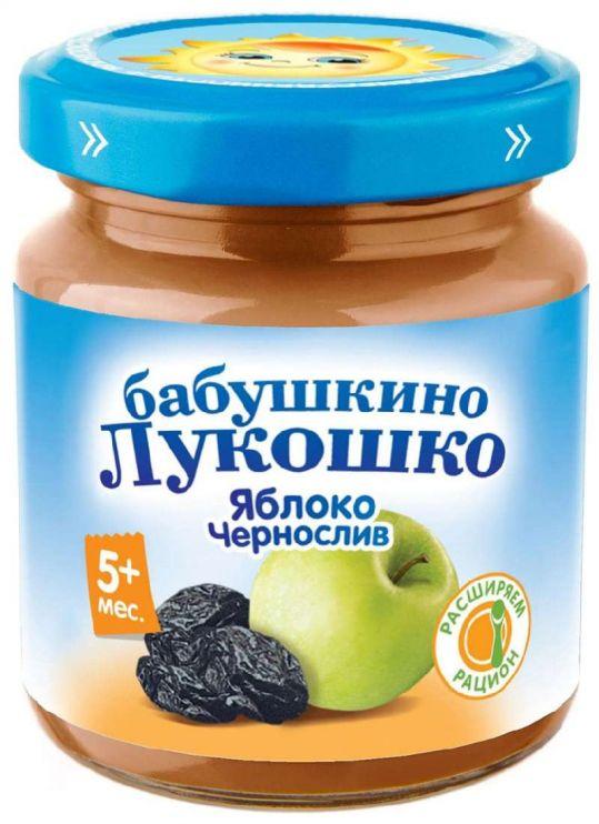 Бабушкино лукошко пюре яблоко/чернослив 5+ 100г, фото №1