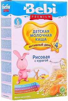 Беби каша молочная рисовая курага 4+ 250г