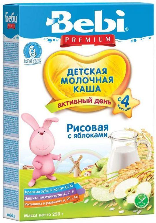 Беби каша молочная рисовая яблоко 4+ 250г, фото №1
