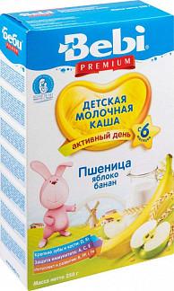 Беби премиум каша молочная пшеничная яблоко/банан 6+ 250г
