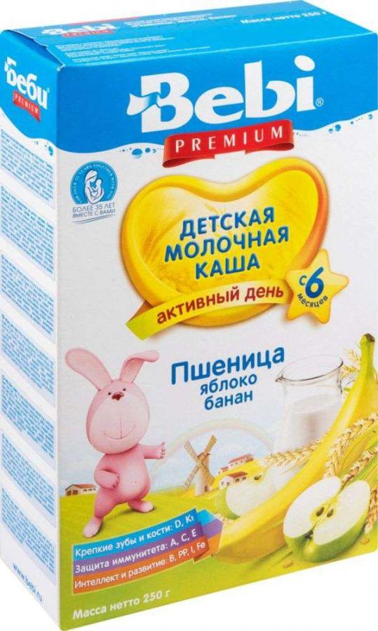 Беби премиум каша молочная пшеничная яблоко/банан 6+ 250г, фото №1