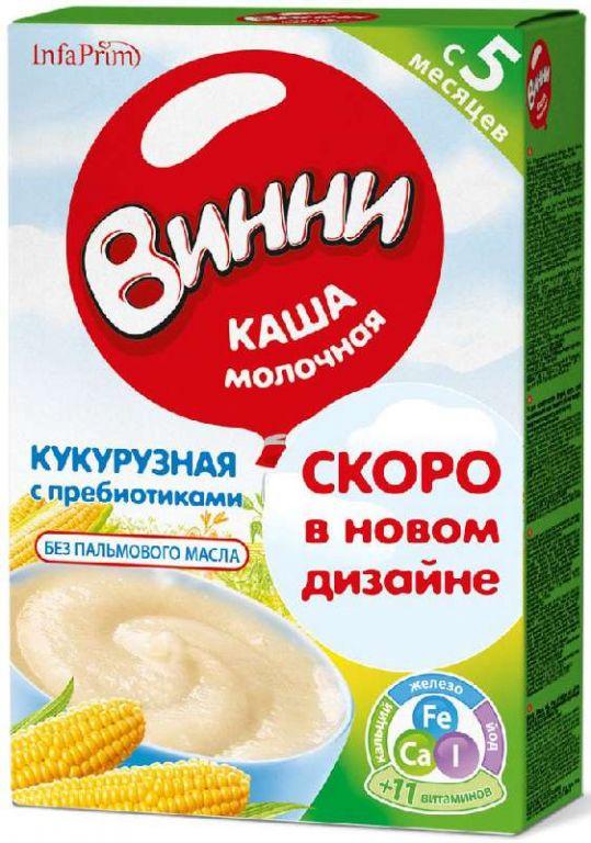 Винни каша молочная кукурузная с пребиотиками 5+ 220г, фото №1