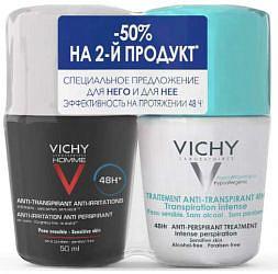 Виши набор (дезодорант шариковый 48часов регулирующий избыточное потоотделение 50мл + ом дезодорант-антиперспирант роликовый 48 часов против пятен 50м