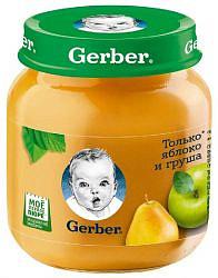 Гербер (gerber) пюре яблоко/груша 4+ 130г