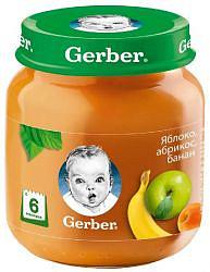 Гербер пюре яблоко/абрикос/банан 6+ 130г
