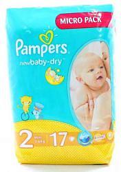 Памперс нью беби подгузники мини размер 2 3-6кг 17 шт.