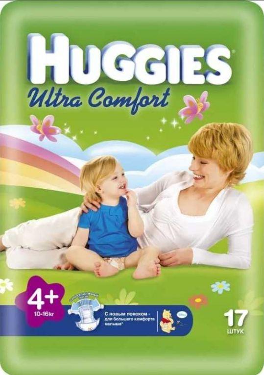 Хаггис ультра комфорт подгузники 4+ (10-16кг) 17 шт., фото №1