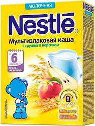 Нестле каша молочная мультизлаковая груша/персик/бифидобактерии 6+ 220г