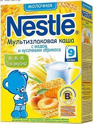 Нестле каша молочная мультизлаковая мед/абрикос/бифидобактерии 9+ 220г