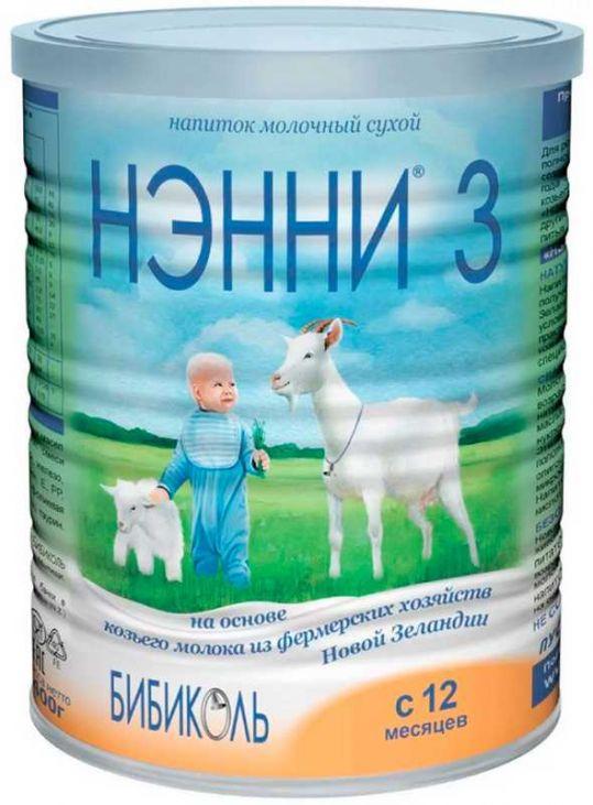 Нэнни 3 смесь на основе козьего молока с пребиотиками (12+мес.) 400г, фото №1