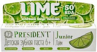 Президент джуниор зубная паста-гель для детей 6+ со вкусом лимонада 50мл
