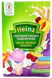 Хайнц каша пшеничная лакомая персик/абрикос/вишня 5+ 200г