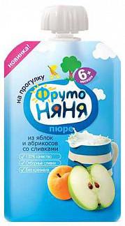 Фрутоняня пюре яблоко/абрикос/сливки 6+ мягкая упаковка 90г/80г