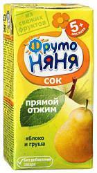 Фрутоняня сок яблоко/груша прямой отжим неоствеленный без сахара 5+ 0,2л