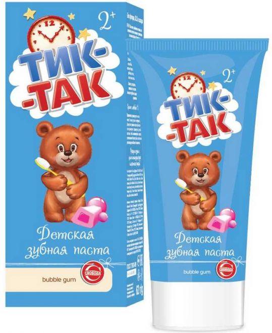 Тик-так зубная паста детская 2+ бабл гам 62г, фото №1