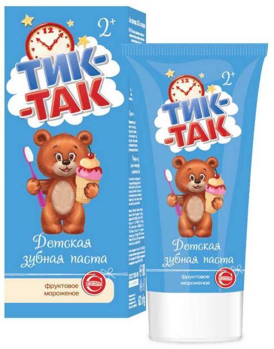 Тик-так зубная паста детская 2+ фруктовое мороженое 62г, фото №1