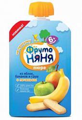 Фрутоняня пюре яблоко/банан/груша/печенье 6+ 90г мягкая упаковка