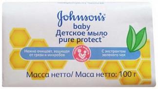 Джонсонс беби пюр протект мыло детское антибактериальное 100г
