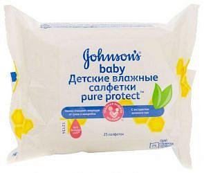 Джонсонс беби пюр протект салфетки влажные антибактериальные 25 шт.