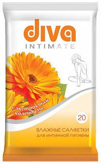 Дива салфетки влажные для интимной гигиены календула 20 шт.