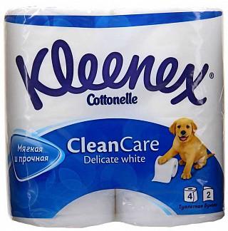 Клинекс клин кеа бумага туалетная деликат вайт 2-х слойная 4 шт.