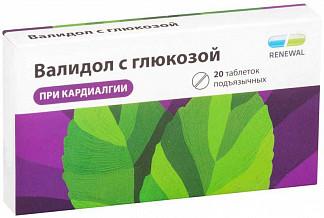 Валидол с глюкозой 60мг 20 шт. таблетки подъязычные