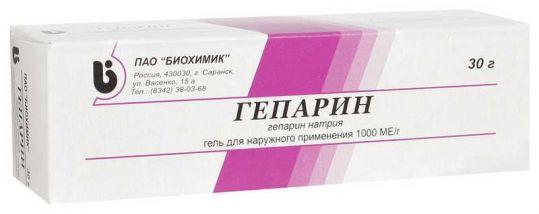 Гепарин 1000ме/г 30г гель для наружного применения, фото №1