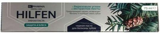 Биси фарма хилфен зубная паста защита и блеск березовый уголь/экстракт пихты 75мл, фото №1