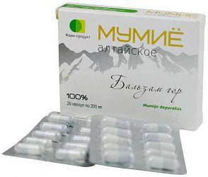 Мумие алтайское бальзам гор таблетки 200мг 20 шт.