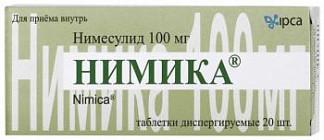 Нимика 100мг 20 шт. таблетки диспергируемые