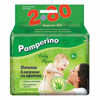 Памперино салфетки влажные детские алоэ (дуо) n80х2