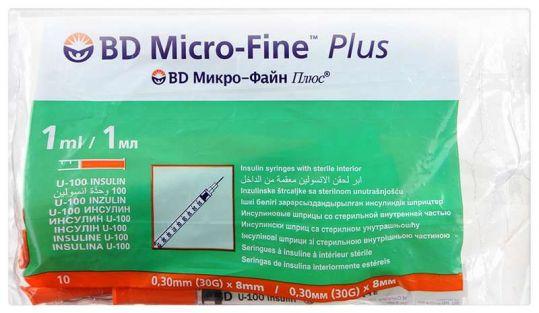 Бектон дикинсон микро-файн плюс шприц инсулиновый 1мл u-100 с иглой 30g (0,3х8мм) 10 шт., фото №1