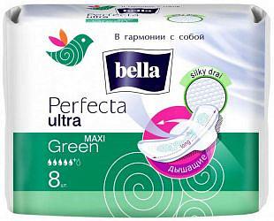 Белла перфекта ультра прокладки гигиенические супертонкие макси грин 8 шт.