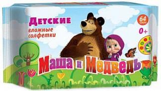 Маша и медведь салфетки влажные для детей 64 шт.