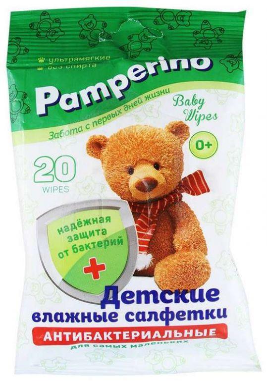 Памперино салфетки влажные антибактериальные детские 20 шт., фото №1