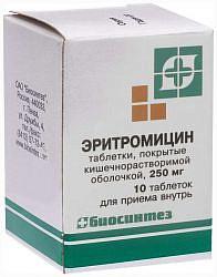 Эритромицин 250мг 10 шт. таблетки