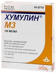 Хумулин м3 100ме/мл 3мл 5 шт. суспензия для подкожного введения картридж