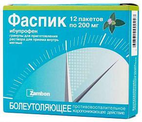 Фаспик 200мг 3г 12 шт. гранулы для приготовления раствора для приема внутрь мятные