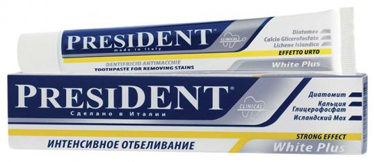 Президент зубная паста вайт плюс интенсивное отбеливание 30мл, фото №1