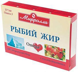 Мирролла рыбий жир капсулы с маслом шиповника 100 шт.