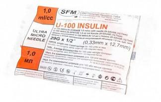 Сфм шприц инсулиновый трехкомпонентный u100 1мл с иглой 29g 0,33х12,7мм 10 шт.