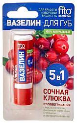 Фитокосметик вазелин для губ сочная клюква от обветривания 4,5г