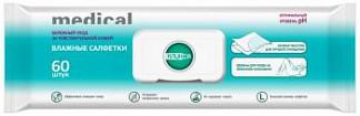 Клинса салфетки влажные для больничной гигиены с клапаном 60 шт.