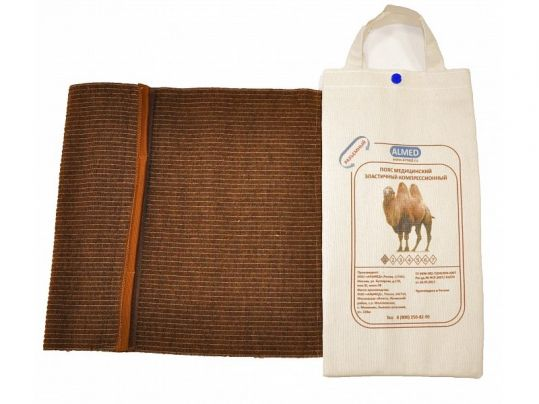 Альмед пояс эластичный согревающий с шерстью верблюда разъемный размер 2/s (68-75см), фото №1
