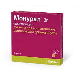 Монурал 3г 2 шт. гранулы для приготовления раствора для приема внутрь