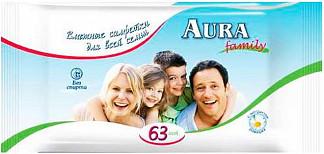 Аура салфетки влажные освежающие для всей семьи 63 шт.