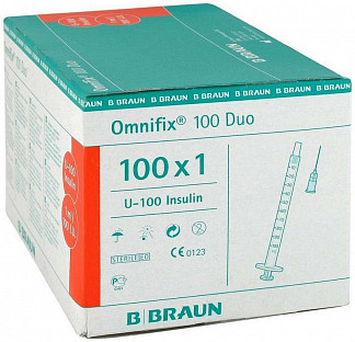 Б.браун омнификс шприц трехкомпонентный 1мл игла 26g 100 шт. b.braun melsungen