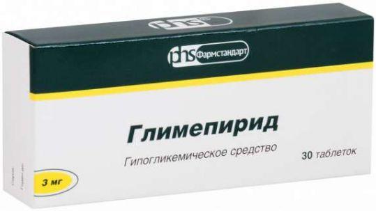 Глимепирид 3мг 30 шт. таблетки, фото №1